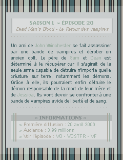 ♣ HuntersWinchester''~ Saison 01 - Épisode 20''. . . . . . . . . . . . . . . . . . . . . . . . . . . .''Création | Décoration | Newsletter