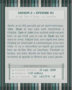 ♣ HuntersWinchester''~ Saison 02 - Épisode 01''. . . . . . . . . . . . . . . . . . . . . . . . . . . .''Création | Décoration | Newsletter