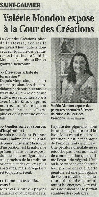 """Presse, article dans """"Le progrès"""" Le 9 mai 2011"""