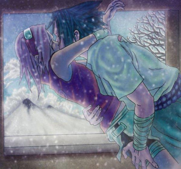 Sasusaku snow