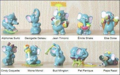 Les éléphantos au Club (figurines Kinder Surprise)