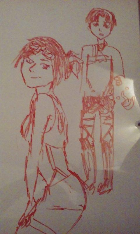 quand ton amie se met a dessiner SNK *.*