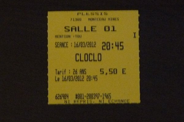 TICKET DU FILM CLOCLO