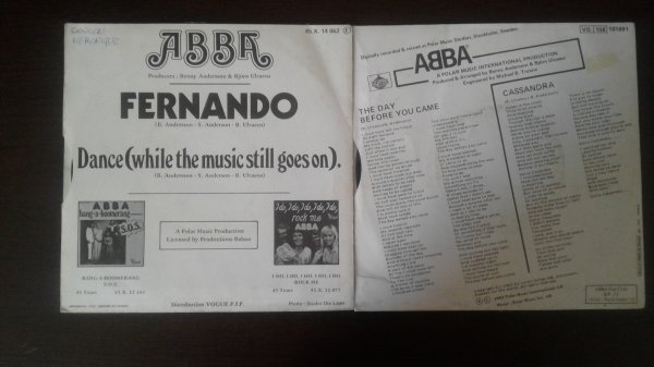 ABBA Fernando 1976, The Day Before You Came 1982 45tours