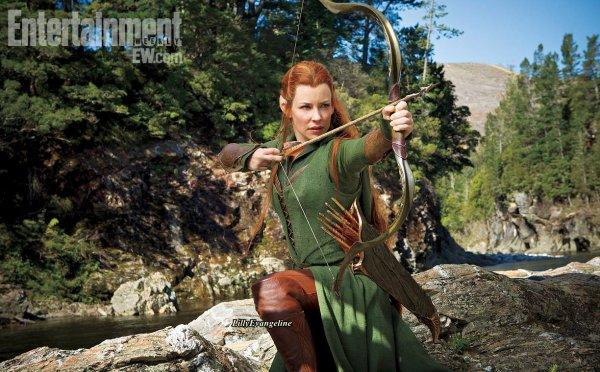 Evangeline Lilly en Tauriel, l'Elfe inventé par Peter Jackson pour Le Hobbit...