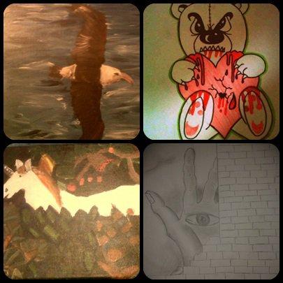 Une partie de mes dessins et tableaux ..