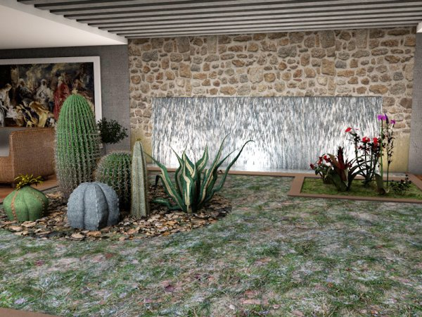 Jardin d 39 interieur avec fontaine art confort for Fontaine japonaise d interieur