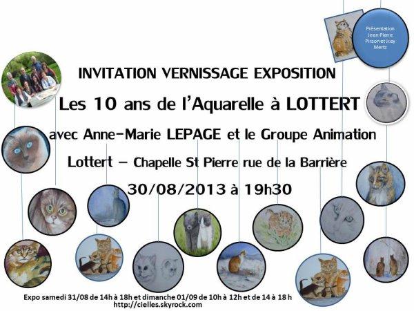 Invitation EXPOSITION et VERNISSAGE du 30/08/2013