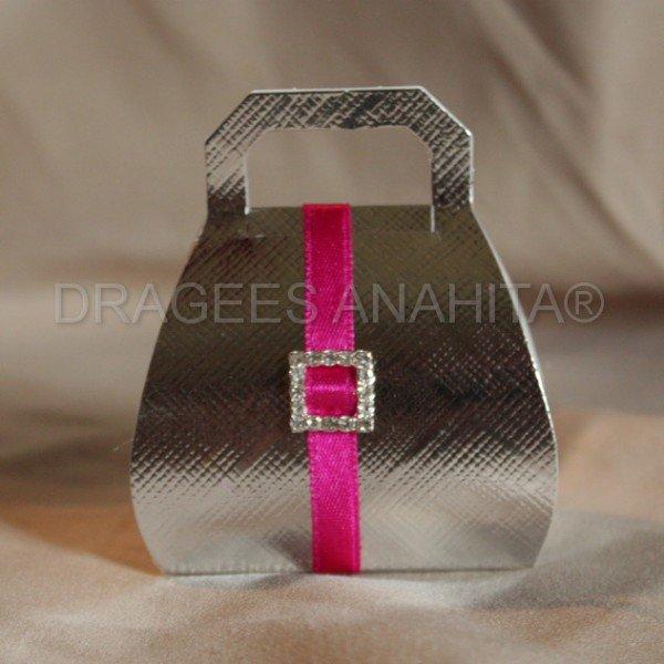 boite a dragées ' sac à main argent et rose
