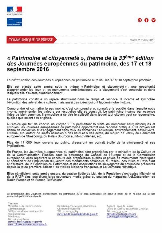 ~~~~ LES RENDEZ-VOUS DU WEEK-END ==> SAMEDI 17 et DIMANCHE 18 SEPTEMBRE ~~ ~~ 33ème ÉDITION des JOURNÉES EUROPÉENNES du PATRIMOINE ~~~~ THÈME 2016: PATRIMOINE & CITOYENNETÉ