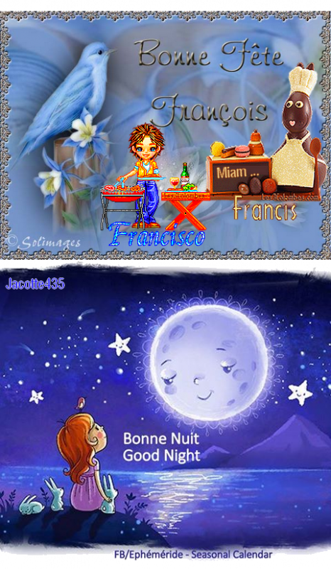 ~~(^v^)~~ 4 OCTOBRE (^v^) SAINT FRANCOIS ~(^v^)~ BONNE FÊTE à mon FILS FRANCK - à mon AMIE FRANCINE et aux FRANCOIS - FRANCIS - FRANCISCO ~~(^v^)~~