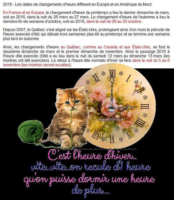 30 OCTOBRE dans la NUIT de SAMEDI à DIMANCHE IL FAUT RETARDER les HORLOGES d'1 HEURE ~~(^v^)~~ ELLES le DISENT si BIEN ~~(^v^)~~ MERCI BEAUCOUP MAMIETITINE, MARION & SONNETTE