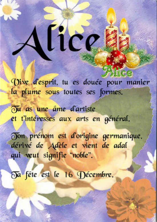 ~♥~(☼♥☼)~♥~ 16 DÉCEMBRE (☼♥☼)~♥~ CALENDRIER DE L'AVENT ~♥~ J - 09 ~♥~(☼♥☼)~♥~ ~♥~(^v^) SAINTE ALICE (^v^)~♥~
