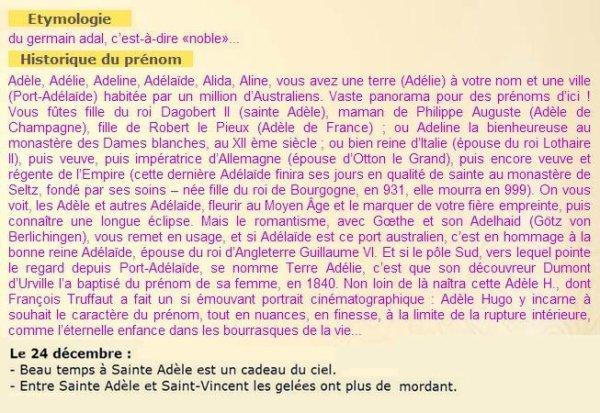 ~♥~(☼♥☼)~♥~ 24 DÉCEMBRE (☼♥☼)~♥~ CALENDRIER DE L'AVENT ~♥~ J - 01 ~♥~(☼♥☼)~♥~ ~♥~(^v^) SAINTE ADÈLE (^v^)~♥~