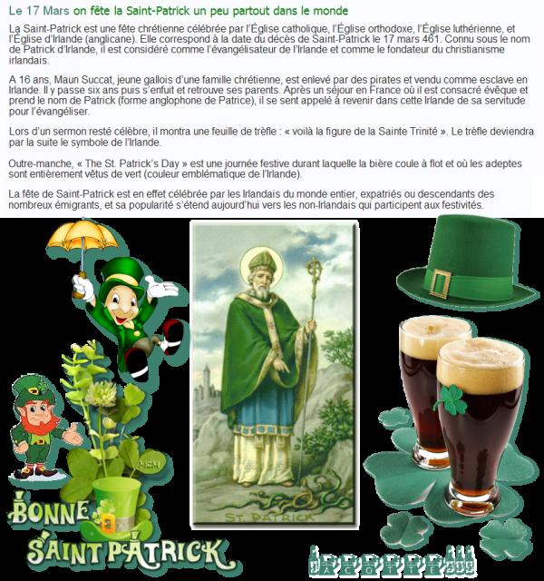 ♫ ☼ ♫ 17 MARS ♫ ☼ ♫ SAINT PATRICK ♫ ☼ ♫ BONNE FÊTE ♫ ☼ ♫ à la SANTÉ de tous les IRLANDAIS ♫ ☼ ♫
