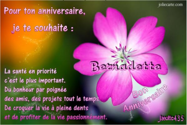 (☼♥☼) ♫ 19 MAI ~♥♥~ BON ANNIVERSAIRE ~♥♥~ MON AMIE ~♥♥~ BERNADETTE ♫ (☼♥☼)
