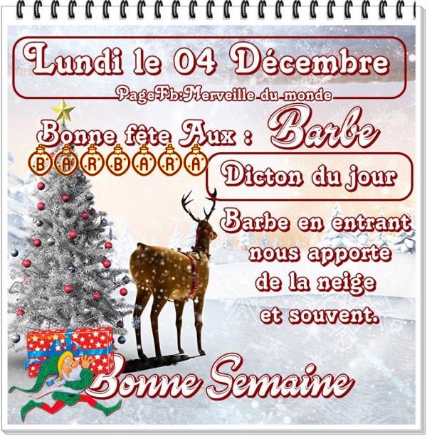 (☼♥☼) ♫ 4 DÉCEMBRE ♥♫♥ CALENDRIER DE L'AVENT ♥ Ste BARBE ~ BARBARA ♫ (☼♥☼)
