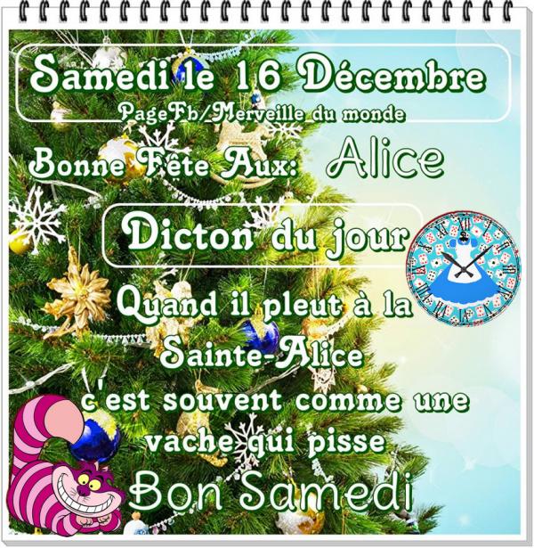 (☼♥☼) ♥♫♥ 16 DÉCEMBRE ♥♫♥ CALENDRIER DE L'AVENT ~♥~ Ste ALICE ♥♫♥ (☼♥☼)
