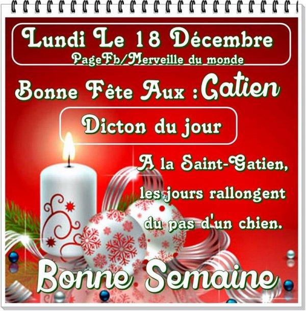 (☼♥☼) ♥♫♥ 18 DÉCEMBRE ♥♫♥ CALENDRIER DE L'AVENT ~♥~ St GATIEN ♥♫♥ (☼♥☼)