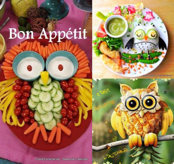 ♥♫♥ CHOUETTE APPÉTIT ♫ CHOUETTES PLATS ♫ CHOUETTES FRUITS ♫ BONNE NUIT ♥♫♥