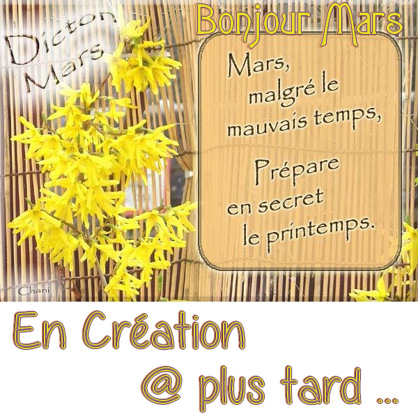 ♥♫♥ AU REVOIR ♥ FÉVRIER ♫♥♫ BONJOUR ♥ MARS ♫♥♫ VIVEMENT le PRINTEMPS ♥♫♥