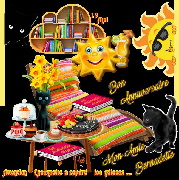 ~♥~ ♫ ☆ 19 MAI ☆ ♫ ☆ BON ANNIVERSAIRE ☆ MON AMIE BERNADETTE ☆ 66 ANS ☆ ♫ ~♥~