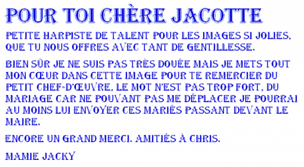 ♫ ☼ REMERCIEMENTS ♥ ♫ ♥ DE MAMIE JACKY ☼ ♫ ☼ ENCORE MERCI DE JACOTTE ☼ ♫