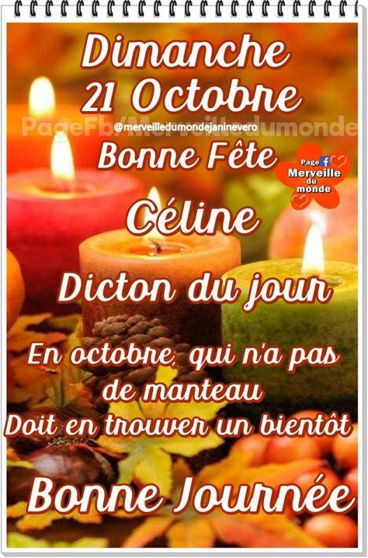 ✿ ♥ ♫ ✿ 21 OCT ✿ ♫ ✿ BONNE FÊTE ✿ ♫ ✿ AUX CÉLINE ✿ ♫ ✿ BON DIMANCHE ✿ ♫ ♥ ✿