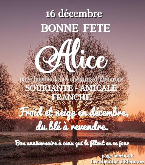 ★ * ☆ ♥♫♥ 16 DÉCEMBRE ♥♫♥ CALENDRIER DE L'AVENT ~♥~ Ste ALICE ♥♫♥ ☆ * ★