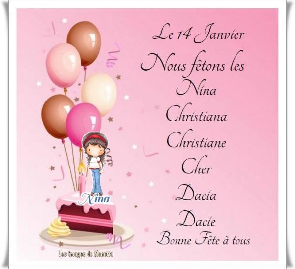 ✿ﻼღ♥ღ 14 JANVIER ღ Ste NINA ♥ SE FÊTE AUSSI ♥ LE 15 DÉCEMBRE ღ Ste NINON ✿ﻼღ♥ღ