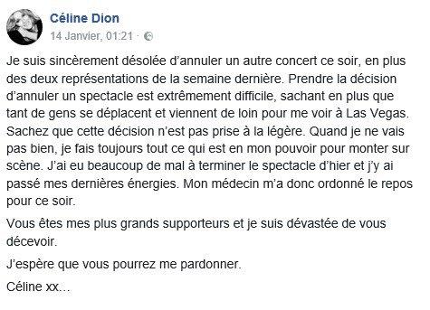 Repos forcé pour Céline..