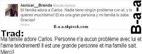 Twitter time Brendadémentle fait que sa famille n'aime pas Carlos!