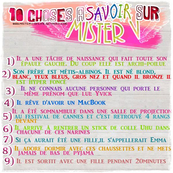 {23Mars2012} 10choses à savoir sur Mister V + Apparition d'Yvick dans un podcas de La Ferme Jerome!