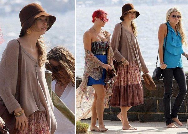 """11 Mars 2012 ღ Taylor à la plage puis dîne au restaurant """"Worlds End"""" avec ses danseuses"""