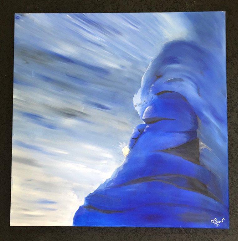 «Gardien de la pierre.» toile acrylique 80x80