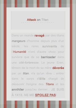 __ATTACK ON TITAN__ ___ Note : 💛💛💛💛💛 Déco