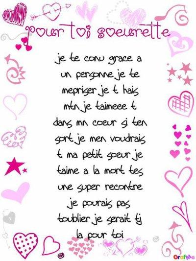 Poeme Pour Toi La Meilelur D Petite Soeur Ma Soeur De