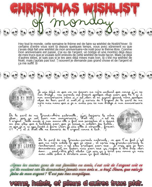 christma(rgent)s wishlist of monday