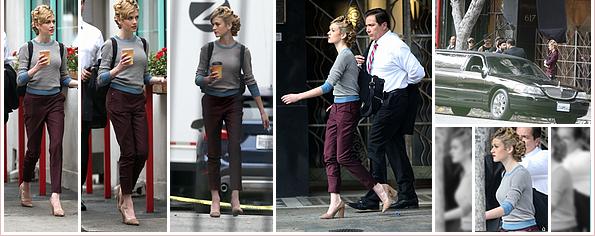 ------------+ -19/11/2018- La belle Katherine a été vu sur le set de son nouveau film « El tonto » qui a eu lieu à Los Angeles Kath portait un pull gris au bord et col bleu, un pantalon couleur prune. La seule chose que j'aime ce sont les chaussures. Tenue : ★ ------------+