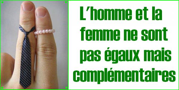 ---------------------=o( L'homme et la femme ne sont pas égaux mais complémentaires. )o=------------------