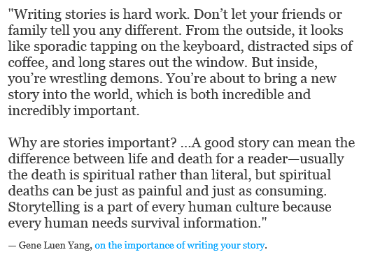 """""""Ecrire des histoires, c'est un travail difficile"""""""