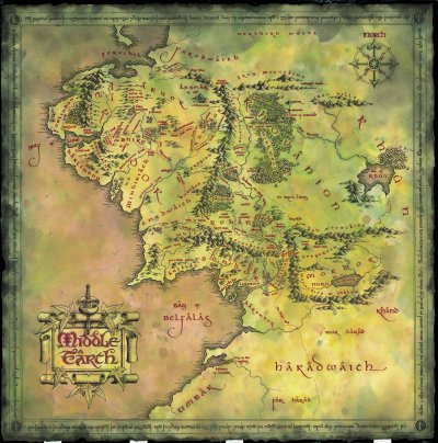 voici la carte de la terre du milieu