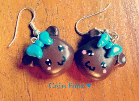 #33 Boucle d'oreilles ourson. ♥