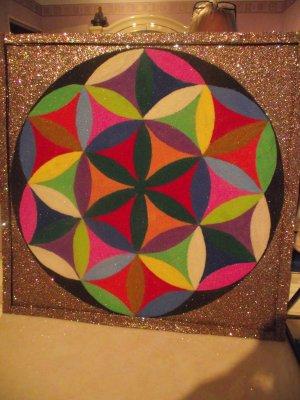 12 Mandala Fleur De Vie Fait Main En Sable 15 Frait De Ports