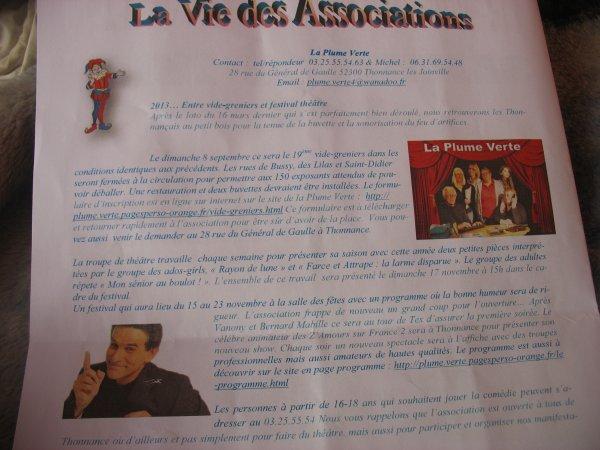 """Mégan sur la fiche spécial Thonnance pour la Plume-Verte """"la vie des associations"""" !"""