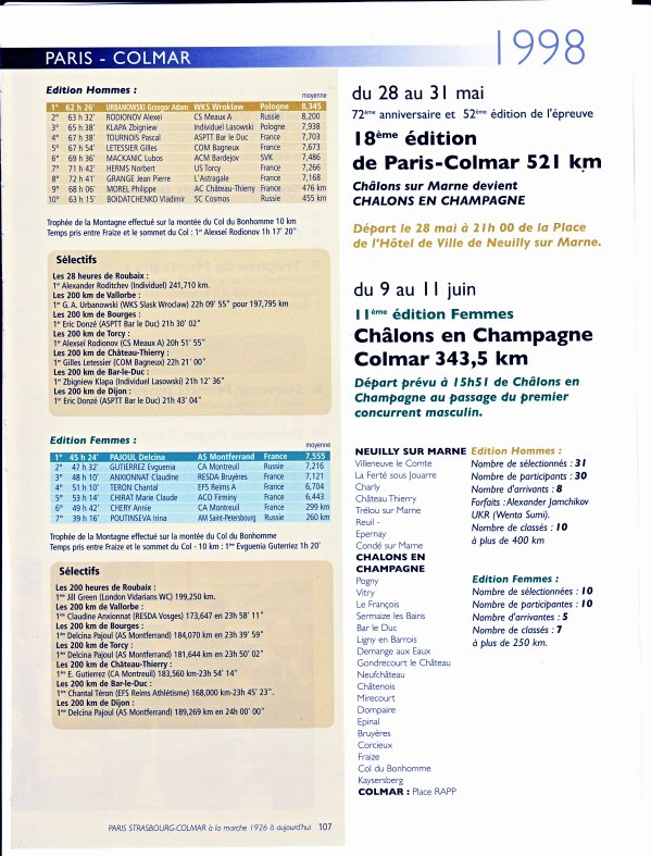PARIS-COLMAR 1998