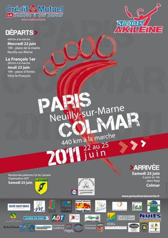 L'affiche de PARIS-Neuily sur Marne COLMAR  2011 à la marche
