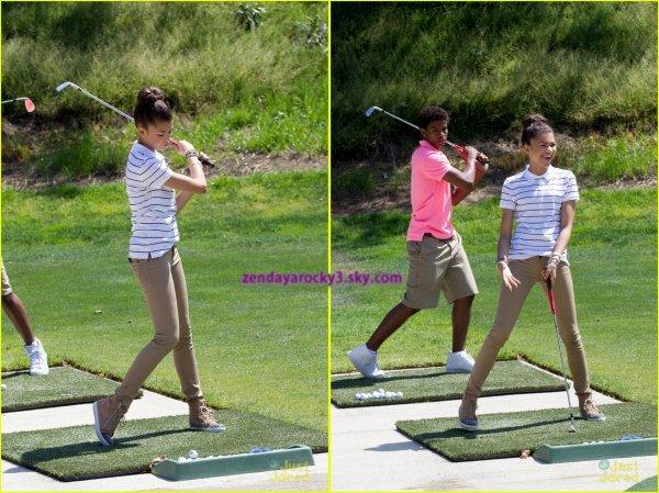 Zendaya faisant du golf avec Trevor Jackson