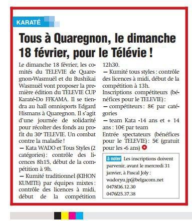 1ère TELEVIE CUP FFKAMA à Quaregnon