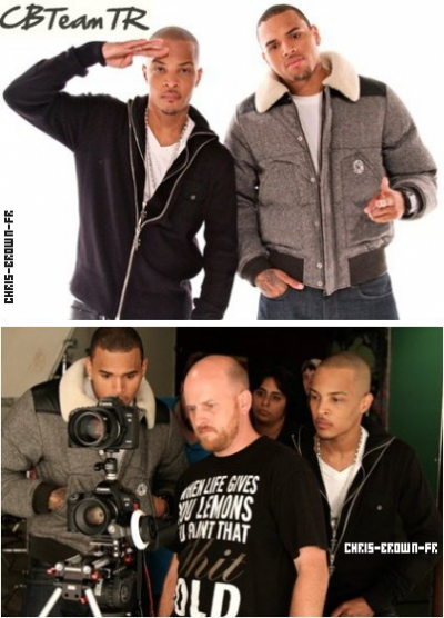 . .Chris Brown & T.I. sur le tournage de « Get Back Up » . .